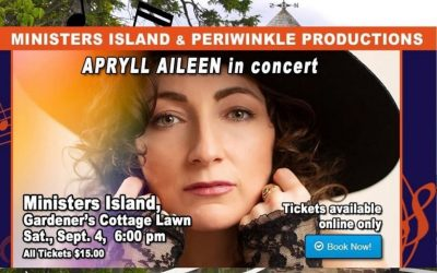 Apryll Aileen to Play Concert on Ministers Island, Saturday, September 4th, 6-7pm